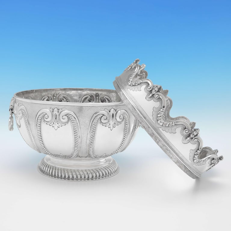 Queen Anne Victorian 'Monteith' Sterling Silver Bowl Hallmarked in 1890 with Removable Rim For Sale