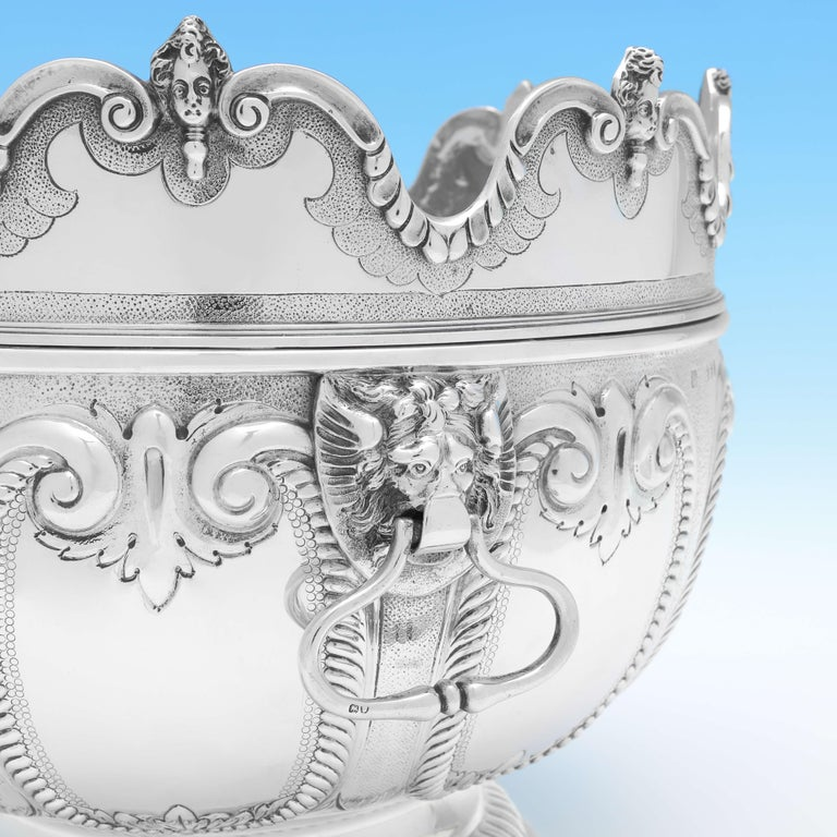 English Victorian 'Monteith' Sterling Silver Bowl Hallmarked in 1890 with Removable Rim For Sale