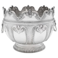 Victorian 'Monteith' Sterling Silver Bowl Hallmarked in 1890 with Removable Rim