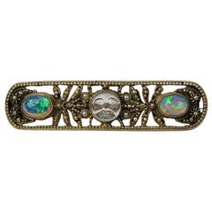 Victorian Moon Face Opal Seed Pearl Saphiret Bar Pin Brooch