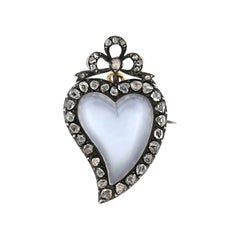 Victorian Moonstone and 0.60 Total Carat Diamond Witch's Heart Pin/Pendant