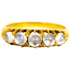 Victorian Moonstone and 18 Carat Gold Five-Stone Ring