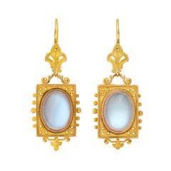 Victorian Moonstone Cabochon Etruscan Earrings