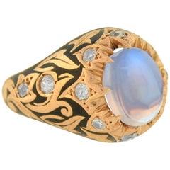 Victorian Moonstone Diamond and Black Enamel Ring