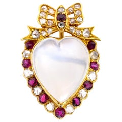 Victorian Moonstone Diamond Ruby Brooch/Pendant