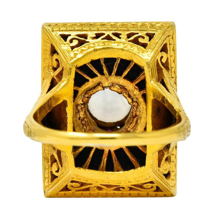 Victorian Moonstone Diamond Ruby Onyx Platinum Gold Carved Baby Face Ring In Excellent Condition For Sale In Philadelphia, PA