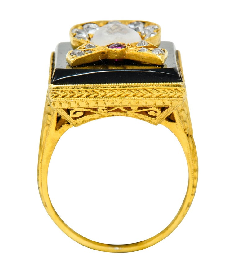 Victorian Moonstone Diamond Ruby Onyx Platinum Gold Carved Baby Face Ring For Sale 3