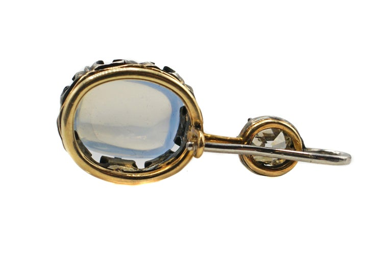 Victorian Moonstone Diamond Silver Gold Pendant In Excellent Condition For Sale In New York, NY