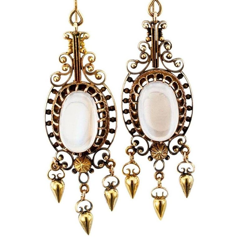 Oval Cut Victorian Moonstone Gold Pendent Earrings For Sale