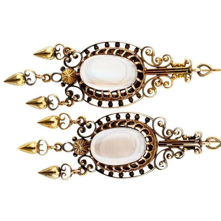 Victorian Moonstone Gold Pendent Earrings In Excellent Condition For Sale In Los Angeles, CA