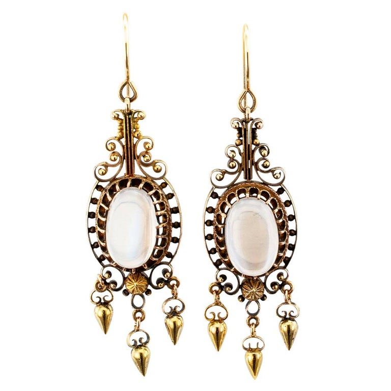 Victorian Moonstone Gold Pendent Earrings For Sale
