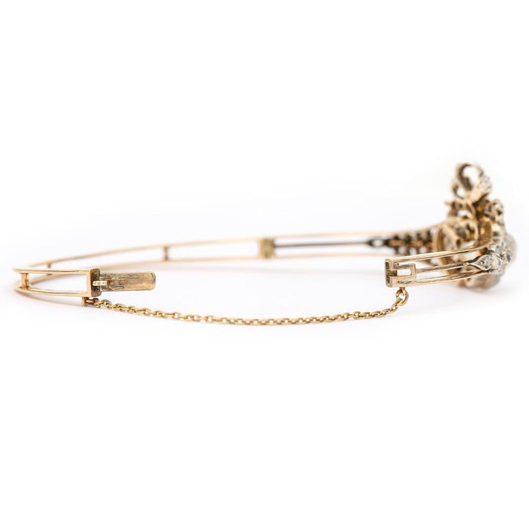 Women's Victorian Moonstone Hearts and Bow Diamond Bangle 18 Karat Gold and Silver For Sale
