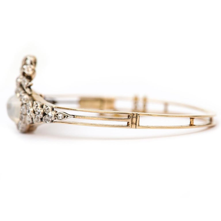 Victorian Moonstone Hearts and Bow Diamond Bangle 18 Karat Gold and Silver For Sale 1