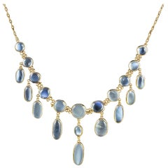 Victorian Moonstone Lavaliere Necklace 18 Carat Gold on Silver, circa 1900