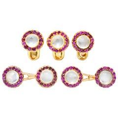 Victorian Moonstone Ruby 14 Karat Gold Austrian Men's Dress Cufflinks Set