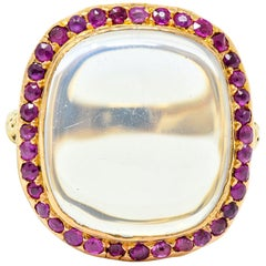 Victorian Moonstone Ruby 18 Karat Gold Cushion Cabochon Ring