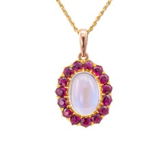 Victorian Moonstone Ruby Gold Pendant