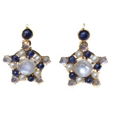 Victorian Moonstone Sapphire Pearl Earrings