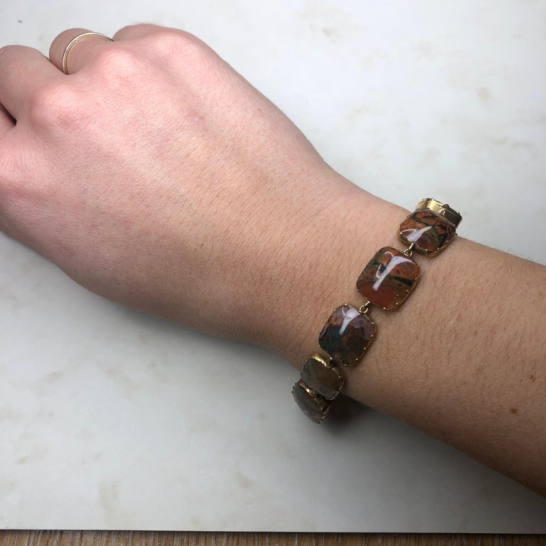 Women's or Men's Victorian Moss Agate and 15 Carat Gold Bracelet For Sale