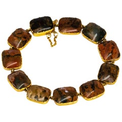 Victorian Moss Agate and 15 Carat Gold Bracelet