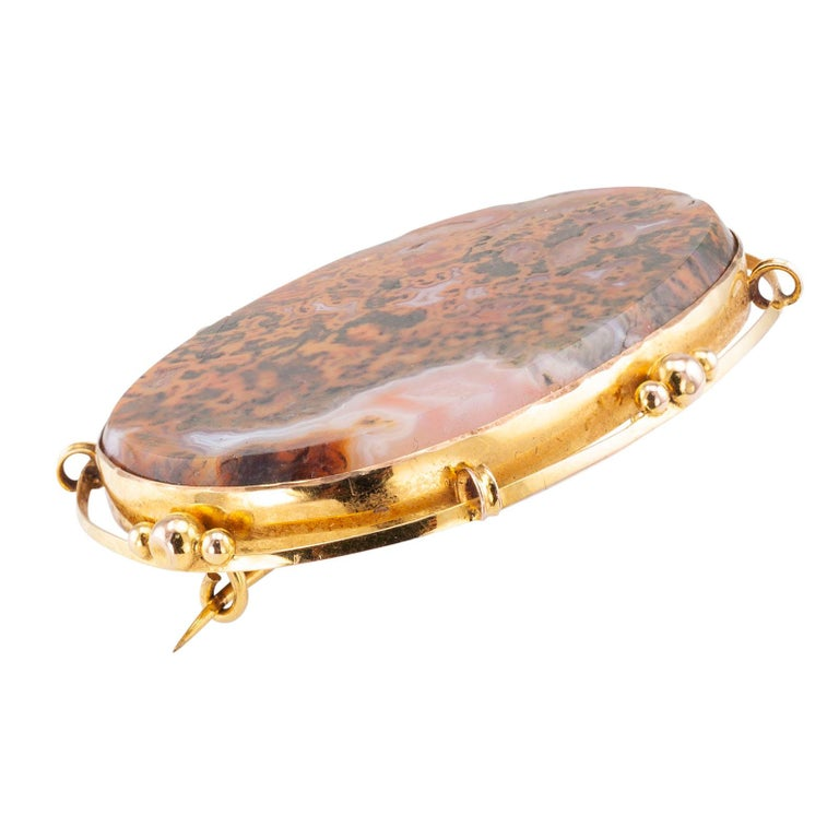 Oval Cut Victorian Moss Agate Gold Brooch For Sale