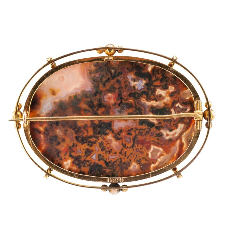 Victorian Moss Agate Gold Brooch In Good Condition For Sale In Los Angeles, CA