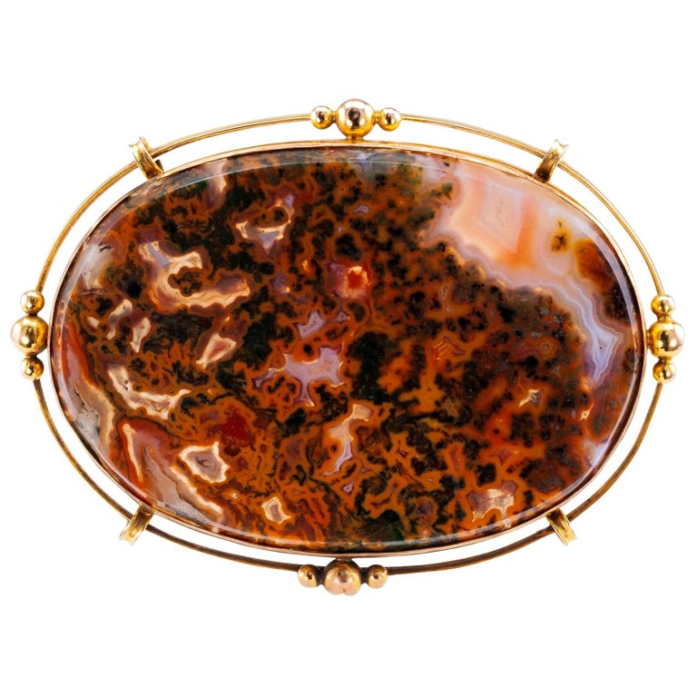 Victorian Moss Agate Gold Brooch For Sale