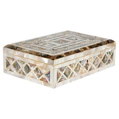 Victorian Mother Of Pearl Mounted Jewelry Box