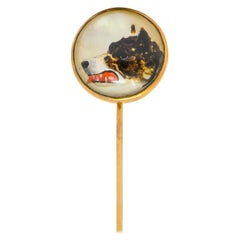 Victorian Mother of Pearl Painted Carved Rock Crystal 14 Karat Gold Dog Stickpin