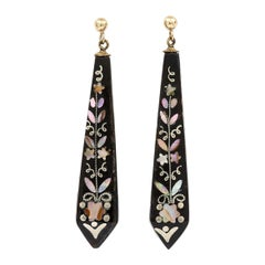 Victorian Mother of Pearl Pique Drop Earrings, Circa 1860