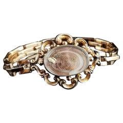 Victorian Mourning Bracelet, 9 Karat Yellow Gold, Hairwork, Conversion