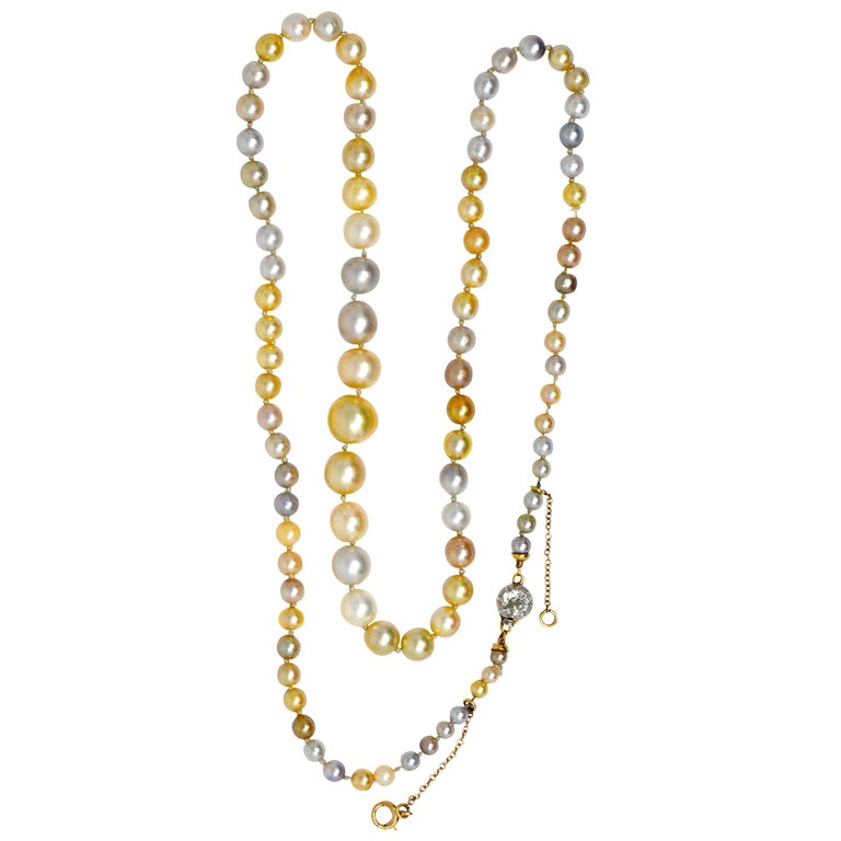 Natural Saltwater Pearl Necklace: Victorian Multi-Color Natural Saltwater Pearl Diamond