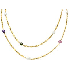 Victorian Multi-Gem Baroque Pearl 14 Karat Gold Chain Necklace
