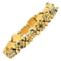 Victorian Multi-Gem Pearl Opal Emerald Garnet 14 Karat Gold Slide Link Bracelet