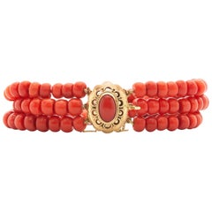 Victorian Multi-Strand Naturel Red Coral 14 Karat Yellow Gold Beaded Bracelet