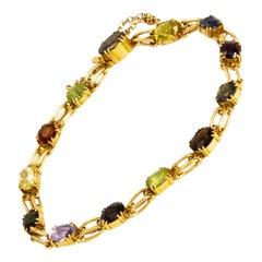 Victorian Multistone 15 Carat Gold Bracelet