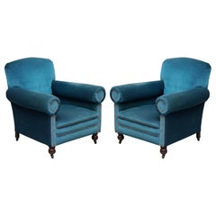 Victorian Napoleonic Blue Velvet Maple & Co Armchairs Pair Bluster Bolster Arms