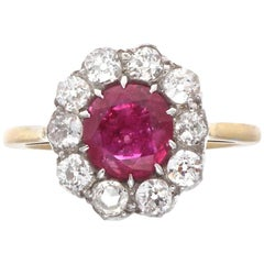 Victorian Natural Burma No Heat Ruby Diamond Gold Silver Engagement Ring