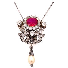 Victorian Natural Burma Ruby, Diamond and Pearl Pendant, 1880s