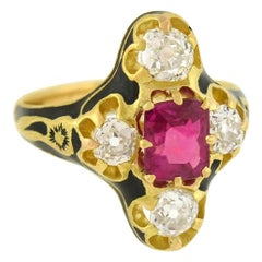 Victorian Natural Burma Ruby Diamond Enameled Ring