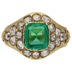 Victorian Natural Colombian Emerald and Diamond Cluster Ring, circa 1900