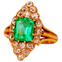 Victorian Natural Colombian Emerald and Diamond Ring