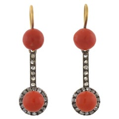 Victorian Natural Coral and Rose Cut Diamond Earrings