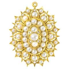 Victorian Natural Half Pearl and Diamond Brooch-Pendant