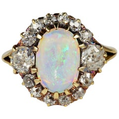 Victorian Natural Opal 1.80 Carat Old Mine Diamond Ring