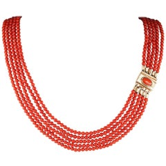 Victorian Natural OX Blood Sardinia Red Coral Rare Necklace