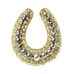 Victorian Natural Pearl and Diamond Horseshoe Brooch or Pendant