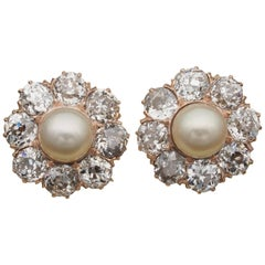 Victorian Natural Pearl 4.80 Carat Old Cut Diamond Earrings