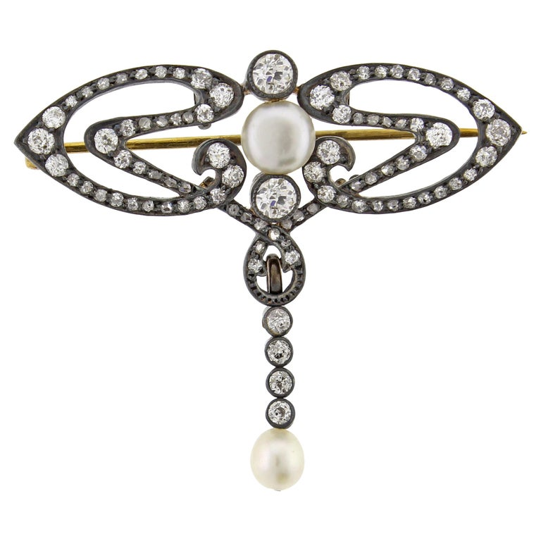 Victorian Natural Pearl and Diamond Brooch For Sale