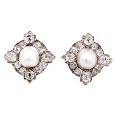 Victorian Natural Pearl and Diamond Cluster Earrings, circa 1880s